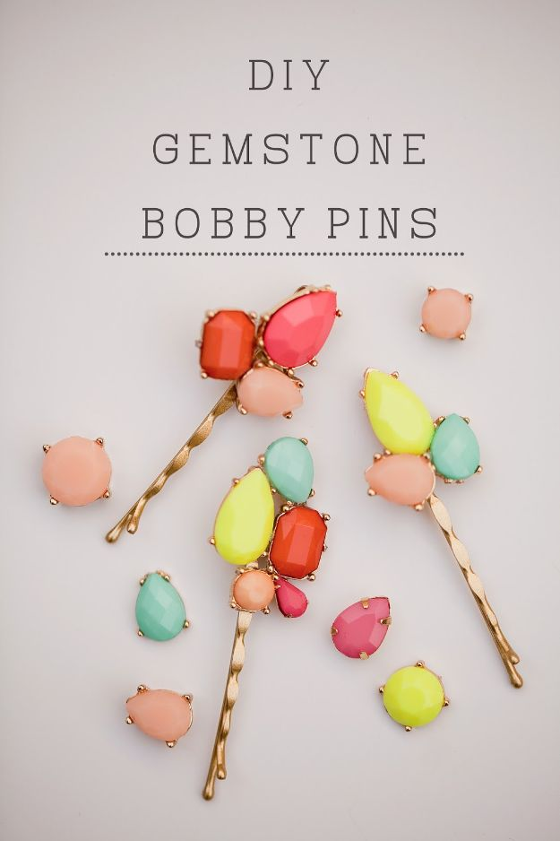 Crafts To Make and Sell - DIY Gem Stone Bobby Pins - 75 MORE Easy DIY Ideas for Cheap Things To Sell on Etsy, Online and for Craft Fairs. Make Money with These Homemade Crafts for Teens, Kids, Christmas, Summer, Mother's Day Gifts. http://diyjoy.com/crafts-to-make-and-sell-ideas