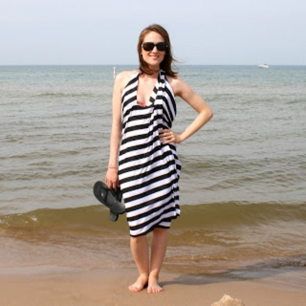 No Sew DIY Fashion Ideas - DIY Halter Wrap Swim Coverup - Easy No Sew Projects to Make for Clothes, Shirts, Jeans, Pants, Skirts, Kids Clothing No Sewing Project Ideas
