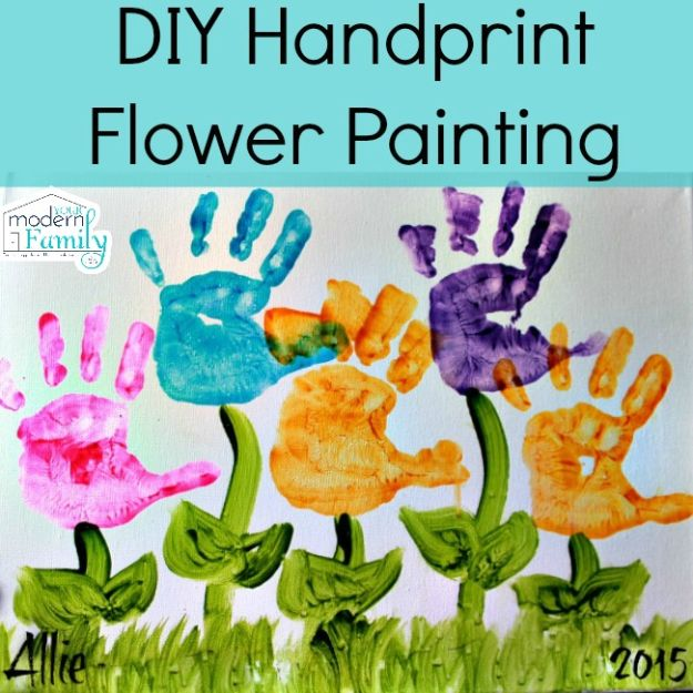 How To Paint Flowers - DIY Handprint Flower Painting - Step by Step Tutorials for Painting Roses, Daisies, Whimsical and Abstract Floral Techniques - Easy Acrylic Flower Tutorial for Beginners - Paint on Wood, Canvas, On Wasll, Rocks, Fabric and Paper - Step by Step Instructions and How To #painting #diy
