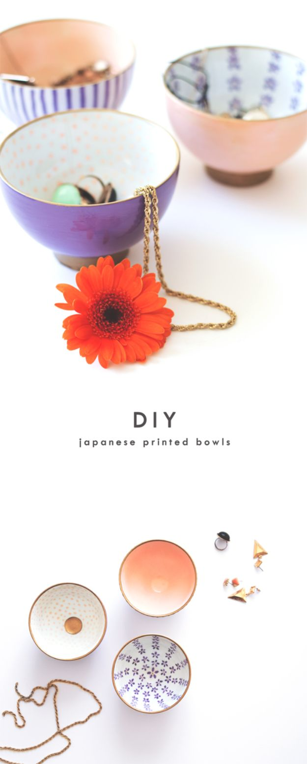Japanese DIY Ideas and Crafts Inspired by Japan - DIY Japanese Printed Bowls - Boxes, Home Decorations, Room Decor, Fashion, Jewelry Tutorials, Wall Art and Gifts