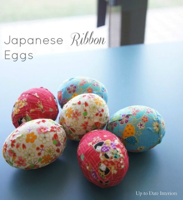 Japanese DIY Ideas and Crafts Inspired by Japan - DIY Japanese Washi Ribbon Eggs - Boxes, Home Decorations, Room Decor, Fashion, Jewelry Tutorials, Wall Art and Gifts