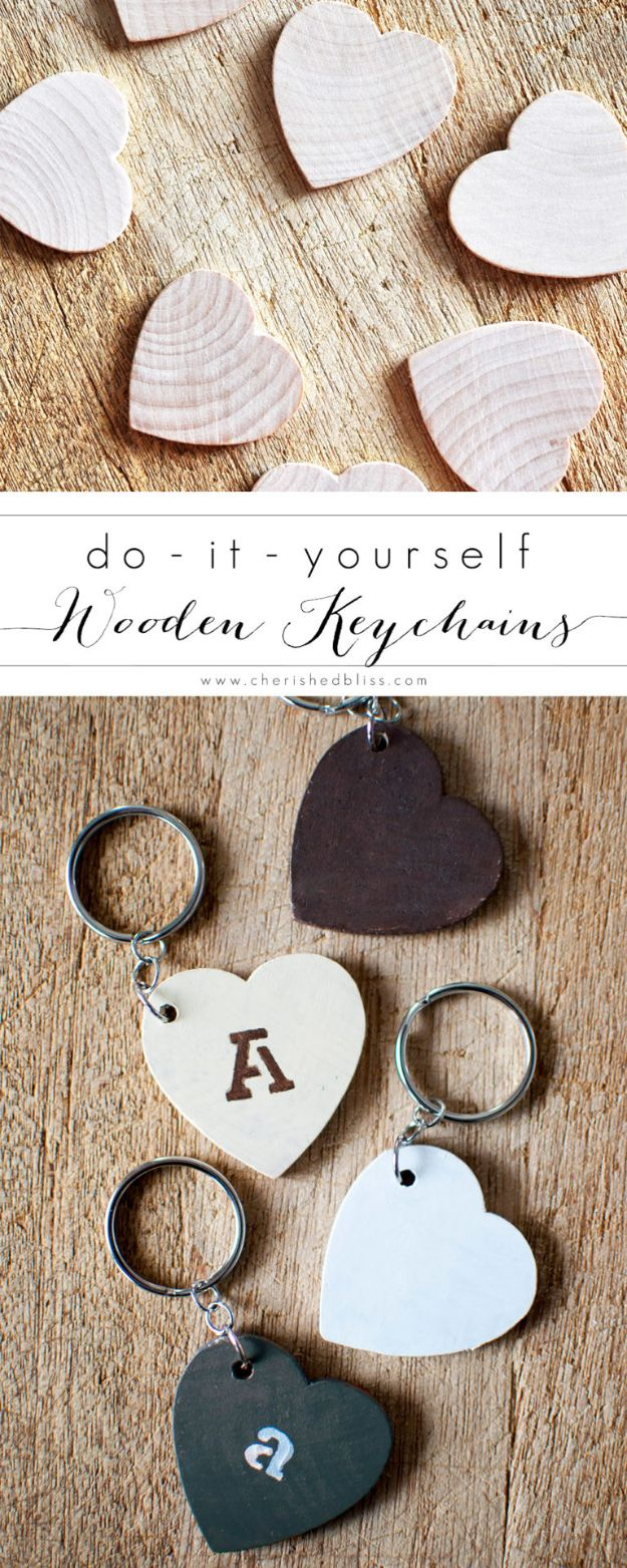 Crafts To Make and Sell - DIY Keychain From Wooden Hearts - 75 MORE Easy DIY Ideas for Cheap Things To Sell on Etsy, Online and for Craft Fairs. Make Money with These Homemade Crafts for Teens, Kids, Christmas, Summer, Mother's Day Gifts. http://diyjoy.com/crafts-to-make-and-sell-ideas