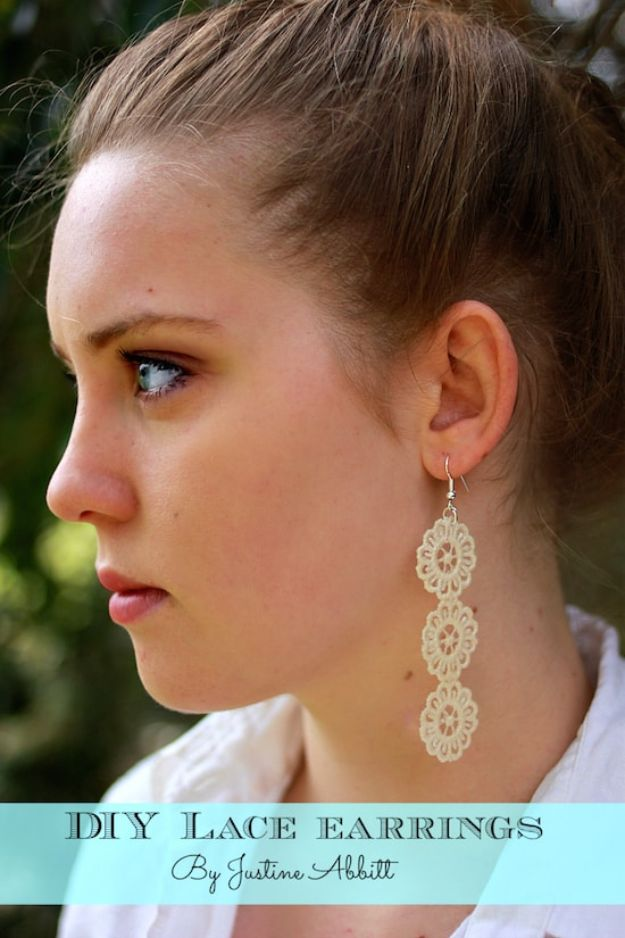 Crafts To Make and Sell - DIY Lace Earrings - 75 MORE Easy DIY Ideas for Cheap Things To Sell on Etsy, Online and for Craft Fairs. Make Money with crafts to sell ideas #crafts