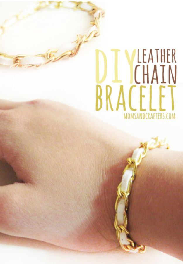 Crafts To Make and Sell - DIY Leather Chain Bracelet - 75 MORE Easy DIY Ideas for Cheap Things To Sell on Etsy, Online and for Craft Fairs. Make Money with These Homemade Crafts for Teens, Kids, Christmas, Summer, Mother's Day Gifts. http://diyjoy.com/crafts-to-make-and-sell-ideas