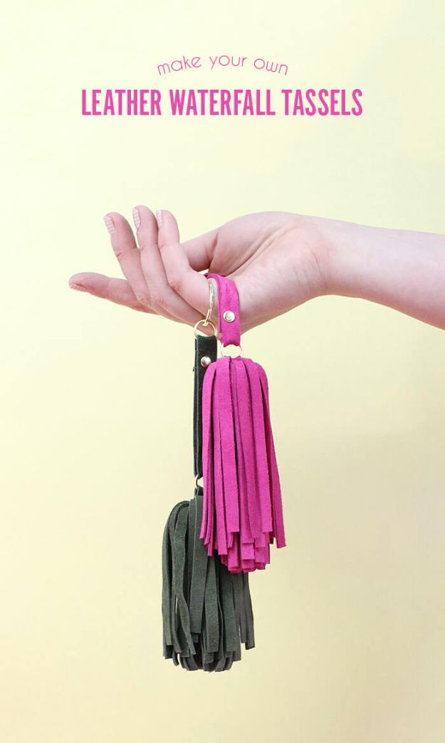 Crafts To Make and Sell - DIY Leather Tassel Keychains - 75 MORE Easy DIY Ideas for Cheap Things To Sell on Etsy, Online and for Craft Fairs. Make Money with These Homemade Crafts for Teens, Kids, Christmas, Summer, Mother's Day Gifts. http://diyjoy.com/crafts-to-make-and-sell-ideas