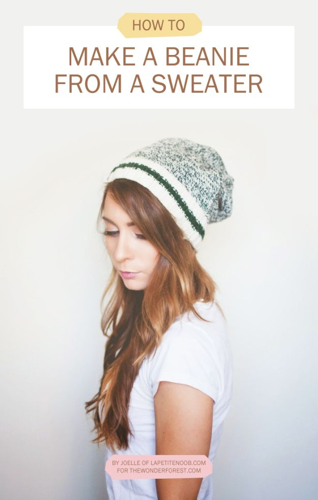 No Sew DIY Fashion Ideas - DIY No-Sew Beanie From A Sweater - Easy No Sew Projects to Make for Clothes, Shirts, Jeans, Pants, Skirts, Kids Clothing No Sewing Project Ideas