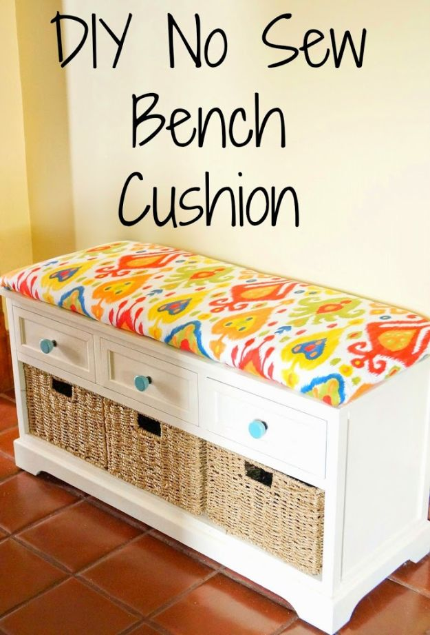 No Sew DIY Home Decor Ideas - DIY No Sew Bench Cushion - Easy No Sew Projects to Make for Bedroom,. Kitchen, Bath - Crafts to Make and Sell, Blankets, No Sewing Project Ideas #nosew #diydecor #diygifts #homedecor
