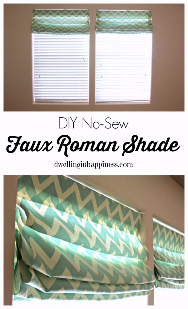 No Sew DIY Home Decor Ideas - DIY No-Sew Faux Roman Shade - Easy No Sew Projects to Make for Bedroom,. Kitchen, Bath - Crafts to Make and Sell, Blankets, No Sewing Project Ideas #nosew #diydecor #diygifts #homedecor