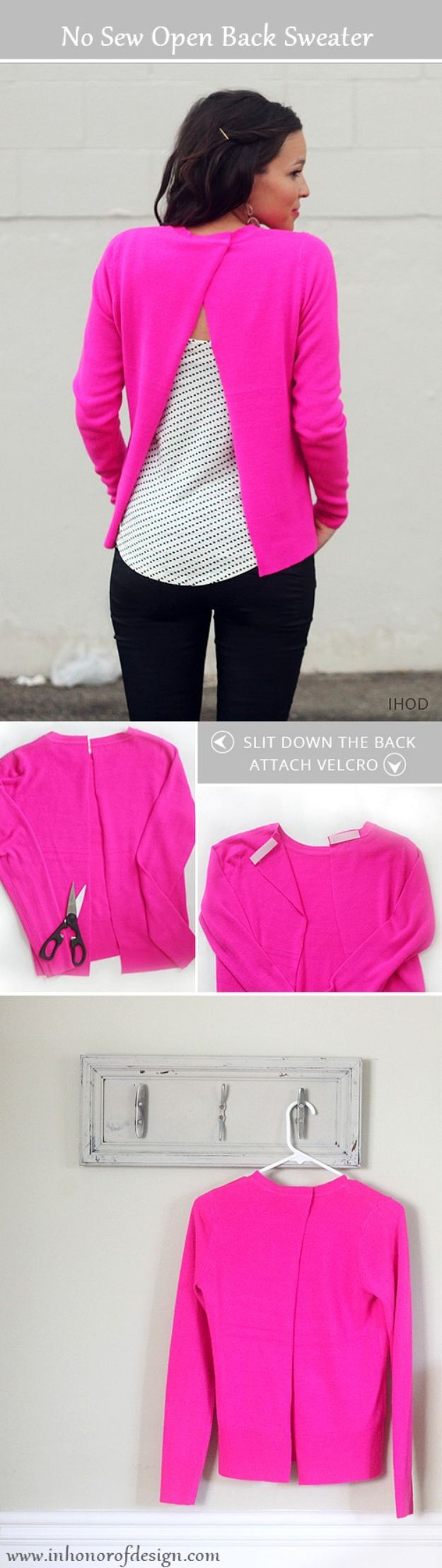 No Sew DIY Fashion Ideas - DIY No-Sew Open Back Sweater - Easy No Sew Projects to Make for Clothes, Shirts, Jeans, Pants, Skirts, Kids Clothing No Sewing Project Ideas