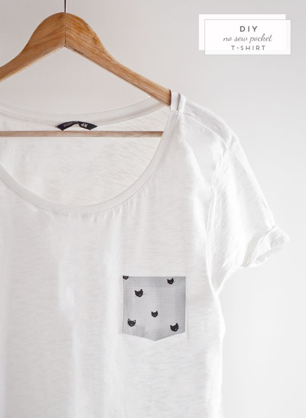 No Sew DIY Fashion Ideas - DIY No-Sew Pocket T-Shirt - Easy No Sew Projects to Make for Clothes, Shirts, Jeans, Pants, Skirts, Kids Clothing No Sewing Project Ideas