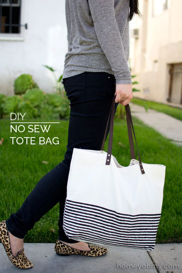 No Sew DIY Fashion Ideas - DIY No-Sew Tote Bag - Easy No Sew Projects to Make for Clothes, Shirts, Jeans, Pants, Skirts, Kids Clothing No Sewing Project Ideas