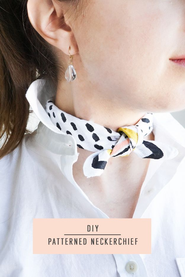 No Sew DIY Fashion Ideas - DIY Patterned Neckerchief - Easy No Sew Projects to Make for Clothes, Shirts, Jeans, Pants, Skirts, Kids Clothing No Sewing Project Ideas