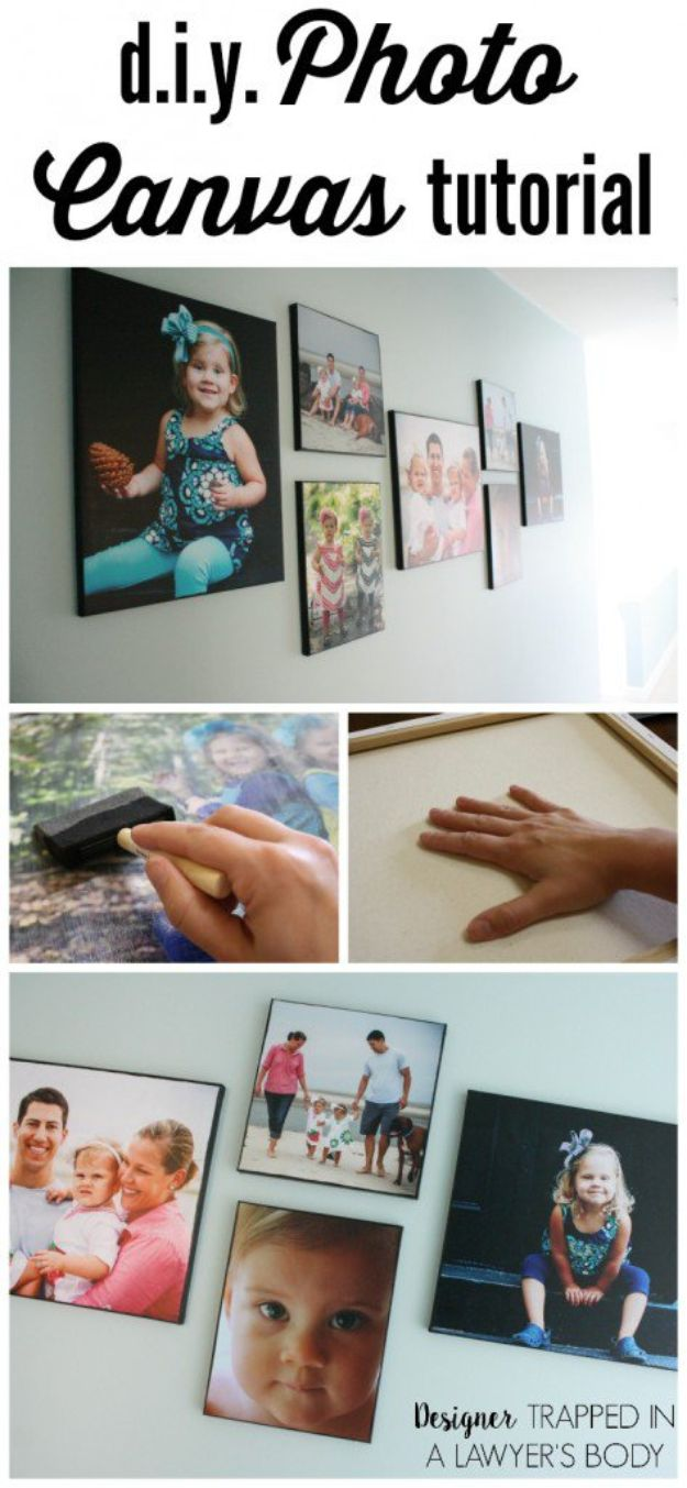 Creative Art Ideas for Wall Decor - Cheap DIY Room Decorating Ideas -DIY Photo Canvas Prints With Authentic Texture