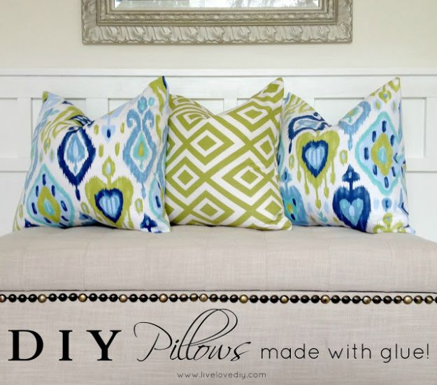 No Sew DIY Home Decor Ideas - DIY Pillows Made With Gluen - Easy No Sew Projects to Make for Bedroom,. Kitchen, Bath - Crafts to Make and Sell, Blankets, No Sewing Project Ideas #nosew #diydecor #diygifts #homedecor