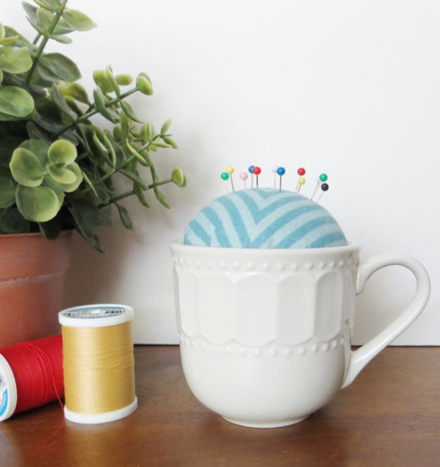 Crafts To Make and Sell - DIY Teacup Pincushion - 75 MORE Easy DIY Ideas for Cheap Things To Sell on Etsy, Online and for Craft Fairs. Make Money with crafts to sell ideas #crafts