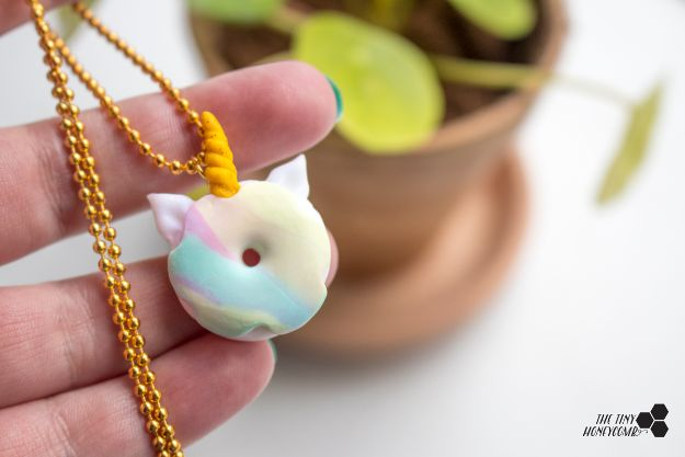 Crafts To Make and Sell - DIY Unicorn Donut Necklace - 75 MORE Easy DIY Ideas for Cheap Things To Sell on Etsy, Online and for Craft Fairs. Make Money with crafts to sell ideas #crafts