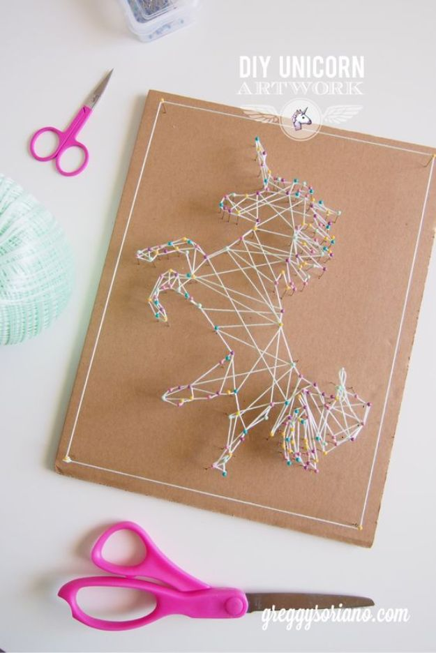 Crafts To Make and Sell - DIY Unicorn String Artwork - 75 MORE Easy DIY Ideas for Cheap Things To Sell on Etsy, Online and for Craft Fairs. Make Money with These Homemade Crafts for Teens, Kids, Christmas, Summer, Mother's Day Gifts. http://diyjoy.com/crafts-to-make-and-sell-ideas