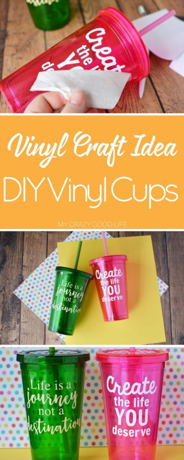 Crafts To Make and Sell - DIY Vinyl Cups - 75 MORE Easy DIY Ideas for Cheap Things To Sell on Etsy, Online and for Craft Fairs. Make Money with crafts to sell ideas #crafts
