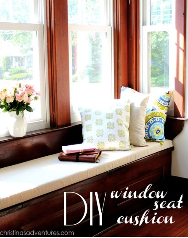 No Sew DIY Home Decor Ideas - DIY Window Seat Cushion - Easy No Sew Projects to Make for Bedroom,. Kitchen, Bath - Crafts to Make and Sell, Blankets, No Sewing Project Ideas #nosew #diydecor #diygifts #homedecor