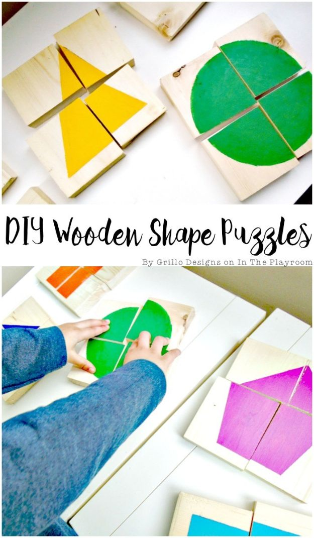 Crafts To Make and Sell - DIY Wooden Shape Puzzles - 75 MORE Easy DIY Ideas for Cheap Things To Sell on Etsy, Online and for Craft Fairs. Make Money with crafts to sell ideas #crafts
