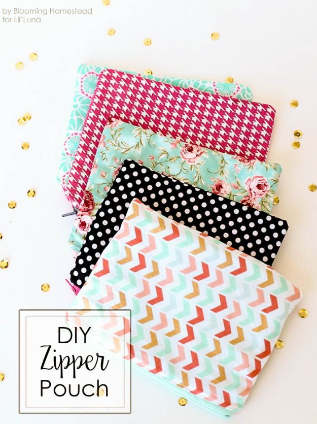 Crafts To Make and Sell - DIY Zipper Pouches - 75 MORE Easy DIY Ideas for Cheap Things To Sell on Etsy, Online and for Craft Fairs. Make Money with crafts to sell ideas #crafts