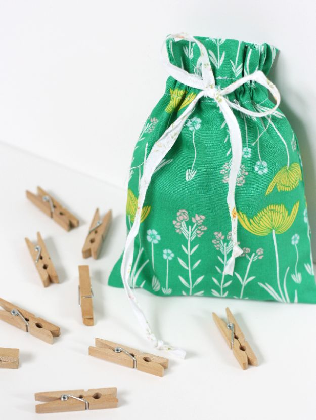 Crafts To Make and Sell - Easy Drawstring Bag - 75 MORE Easy DIY Ideas for Cheap Things To Sell on Etsy, Online and for Craft Fairs. Make Money with crafts to sell ideas #crafts