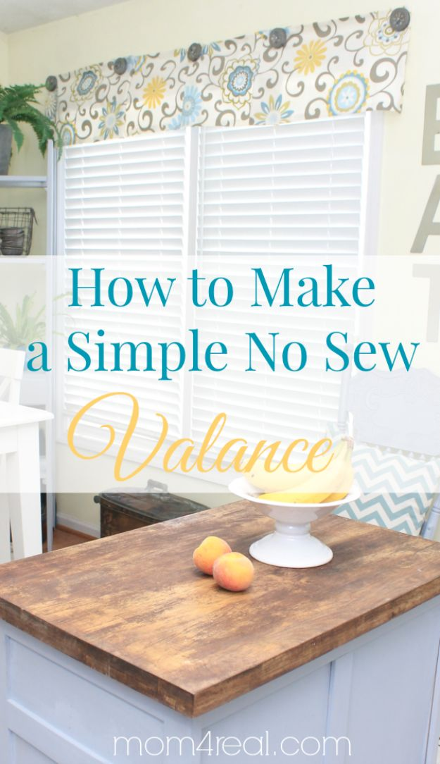 No Sew DIY Home Decor Ideas - Easy No-Sew Valance - Easy No Sew Projects to Make for Bedroom,. Kitchen, Bath - Crafts to Make and Sell, Blankets, No Sewing Project Ideas #nosew #diydecor #diygifts #homedecor