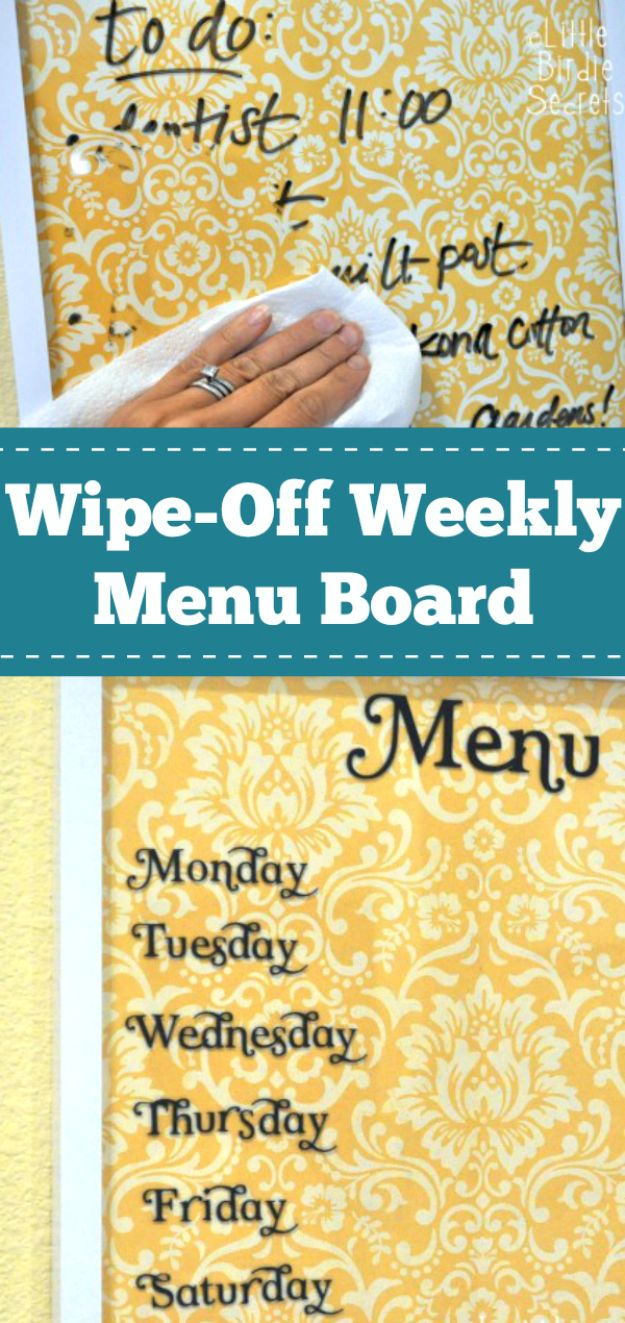 Crafts To Make and Sell - Easy Wipe Off Weekly Menu Board - 75 MORE Easy DIY Ideas for Cheap Things To Sell on Etsy, Online and for Craft Fairs. Make Money with crafts to sell ideas #crafts