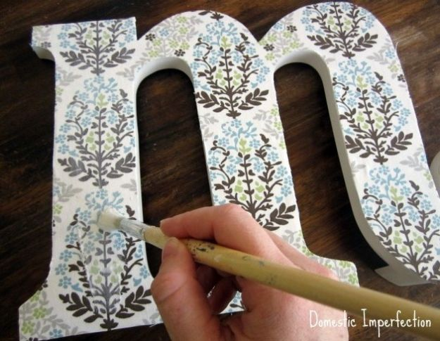 No Sew DIY Home Decor Ideas - Fabric Covered Initial - Easy No Sew Projects to Make for Bedroom,. Kitchen, Bath - Crafts to Make and Sell, Blankets, No Sewing Project Ideas #nosew #diydecor #diygifts #homedecor