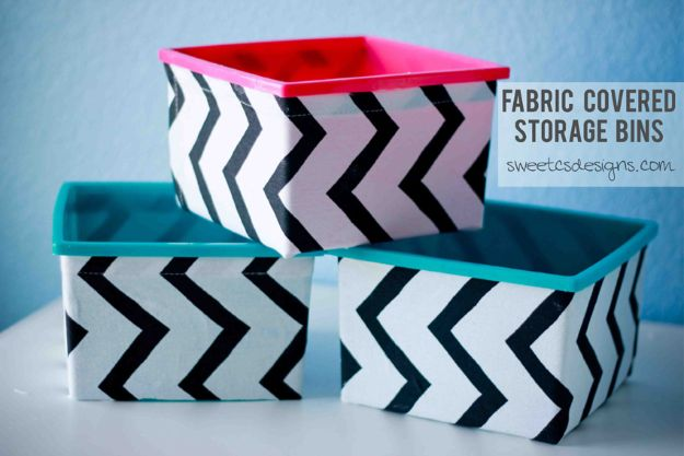 No Sew DIY Home Decor Ideas - Fabric Covered Storage Bins - Easy No Sew Projects to Make for Bedroom,. Kitchen, Bath - Crafts to Make and Sell, Blankets, No Sewing Project Ideas #nosew #diydecor #diygifts #homedecor