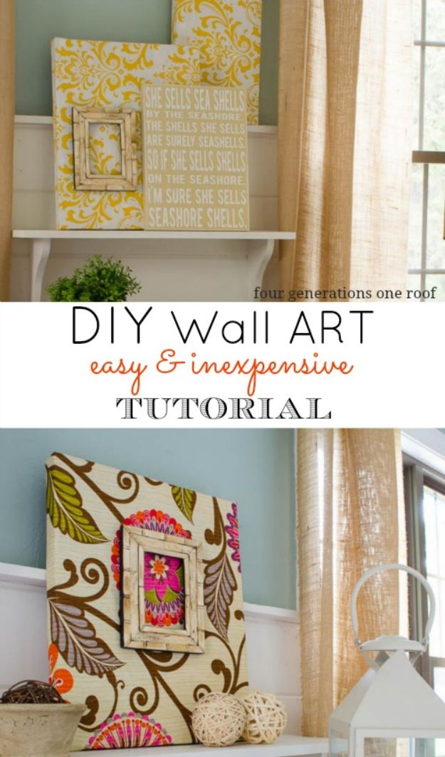 No Sew DIY Home Decor Ideas - Fabric DIY Wall Art - Easy No Sew Projects to Make for Bedroom,. Kitchen, Bath - Crafts to Make and Sell, Blankets, No Sewing Project Ideas #nosew #diydecor #diygifts #homedecor