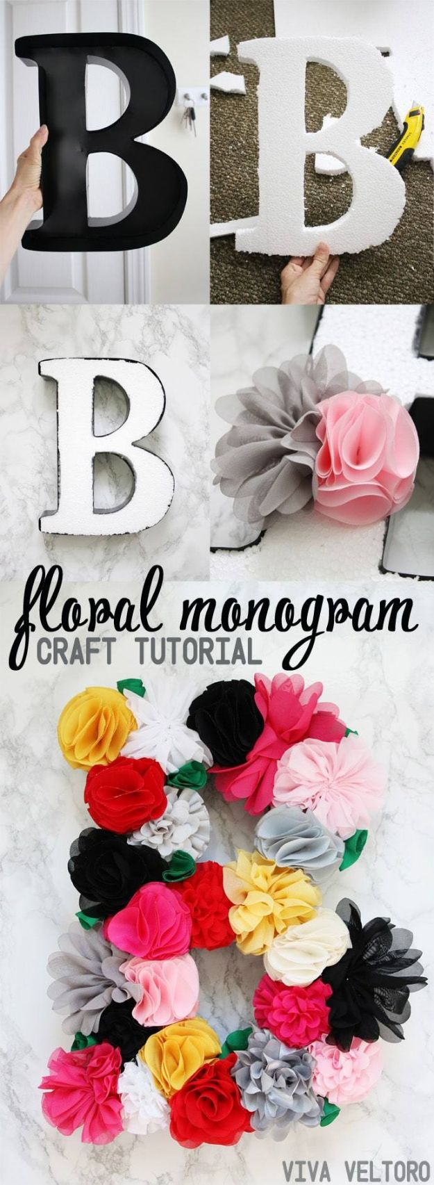 Crafts To Make and Sell - Flower Letter Monogram - 75 MORE Easy DIY Ideas for Cheap Things To Sell on Etsy, Online and for Craft Fairs. Make Money with crafts to sell ideas #crafts