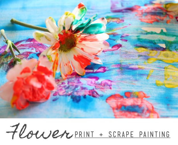 How To Paint Flowers - Flower Print Scrape Painting - Step by Step Tutorials for Painting Roses, Daisies, Whimsical and Abstract Floral Techniques - Easy Acrylic Flower Tutorial for Beginners - Paint on Wood, Canvas, On Wasll, Rocks, Fabric and Paper - Step by Step Instructions and How To #painting #diy