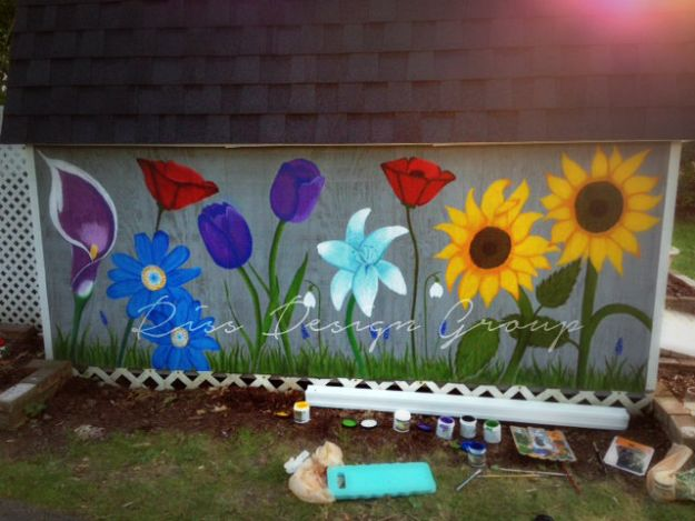 How To Paint Flowers - Flowers Painted On Garden Shed - Step by Step Tutorials for Painting Roses, Daisies, Whimsical and Abstract Floral Techniques - Easy Acrylic Flower Tutorial for Beginners - Paint on Wood, Canvas, On Wasll, Rocks, Fabric and Paper - Step by Step Instructions and How To #painting #diy