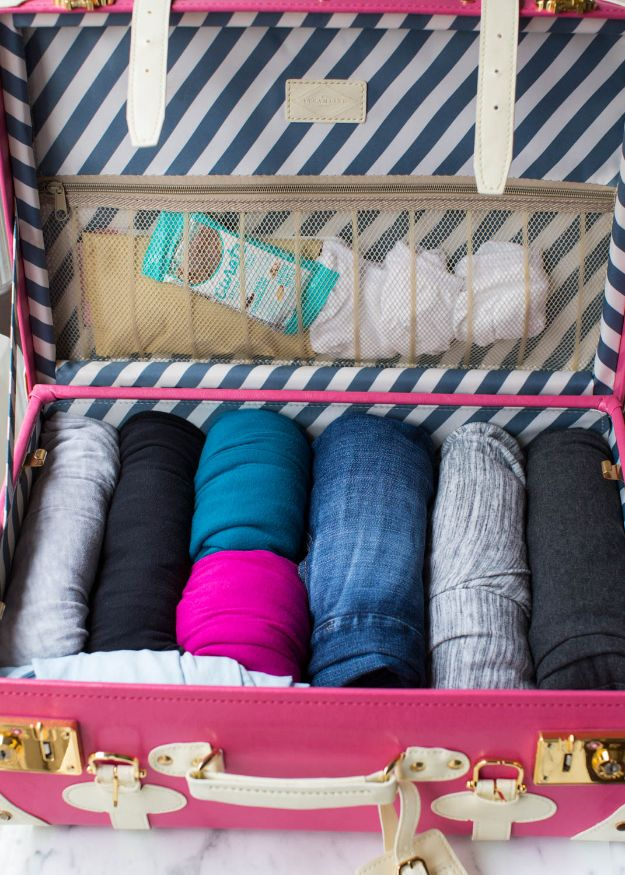 Packing Hacks for Travel - Fold Clothes Inside A Suitcase - How to Pack and Fold Clothes, Save Space in Suitcase - Tips and Tricks for Shoes, Makeup, Toiletries, Carry On Luggage for Trips