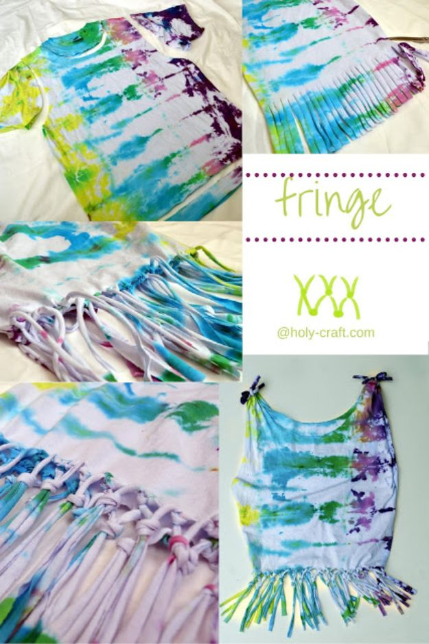 No Sew DIY Fashion Ideas - Fringed Tie Dye Shirt - Easy No Sew Projects to Make for Clothes, Shirts, Jeans, Pants, Skirts, Kids Clothing No Sewing Project Ideas