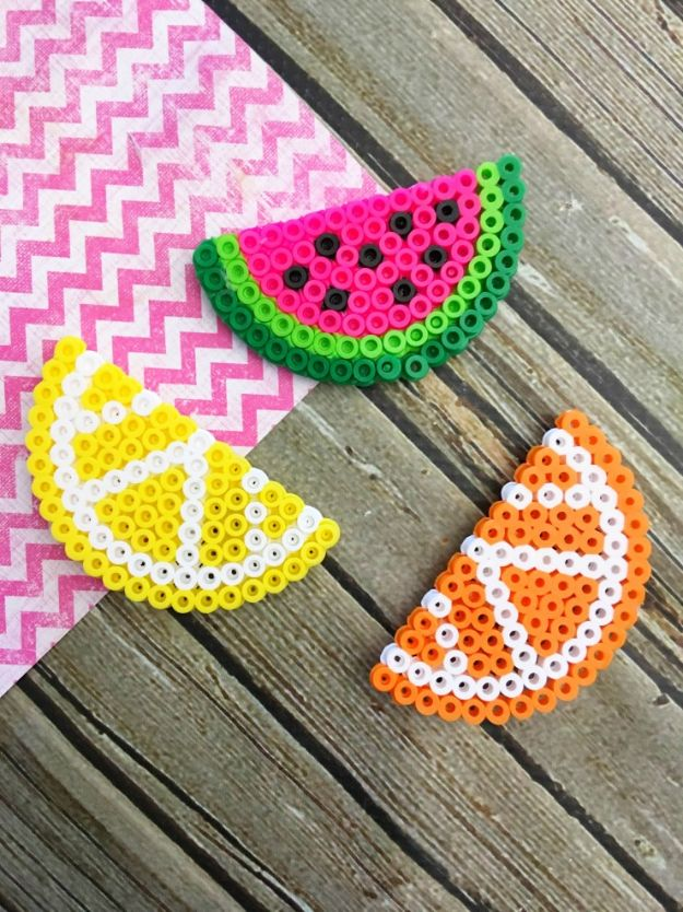 Crafts To Make and Sell - Fruit Perler Bead Magnets - 75 MORE Easy DIY Ideas for Cheap Things To Sell on Etsy, Online and for Craft Fairs. Make Money with These Homemade Crafts for Teens, Kids, Christmas, Summer, Mother's Day Gifts. http://diyjoy.com/crafts-to-make-and-sell-ideas