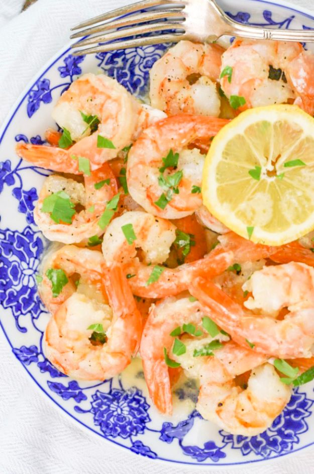 Shrimp Recipes - Garlic Butter Shrimp - Healthy, Easy Recipe Ideas for Dinner Using Shrimp - Grilled, Creamy Baked Pasta, Fried, Spicy Asian Style, Mexican, Sauteed Garlic