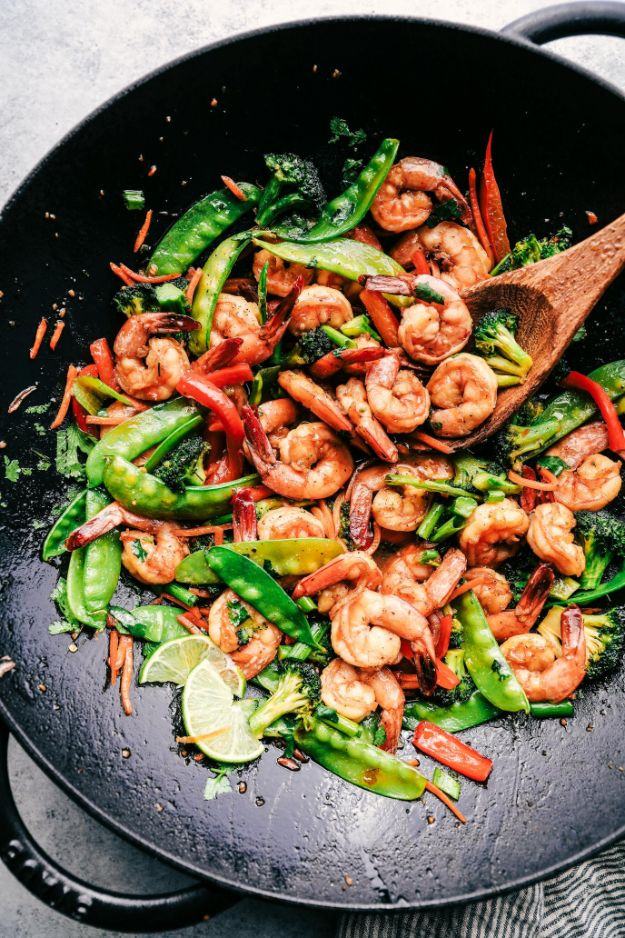Easy Shrimp Recipes - Garlic Shrimp Stir Fry - Healthy, Easy Recipe Ideas for Dinner Using Shrimp - Grilled, Creamy Baked Pasta, Fried, Spicy Asian Style, Mexican, Sauteed Garlic