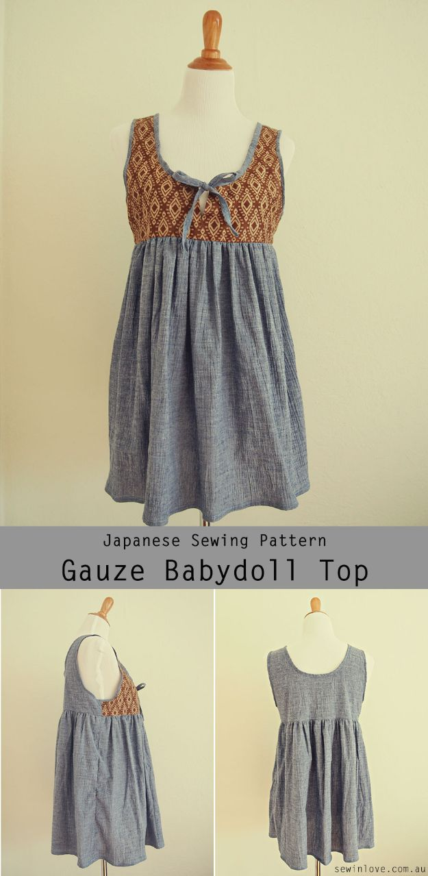 Japanese DIY Ideas and Crafts Inspired by Japan - Gauze Babydoll Top - Boxes, Home Decorations, Room Decor, Fashion, Jewelry Tutorials, Wall Art and Gifts