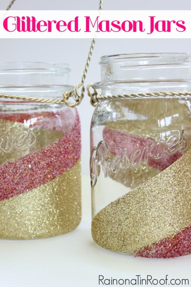 Crafts To Make and Sell - Glittered Mason Jars - 75 MORE Easy DIY Ideas for Cheap Things To Sell on Etsy, Online and for Craft Fairs. Make Money with crafts to sell ideas #crafts