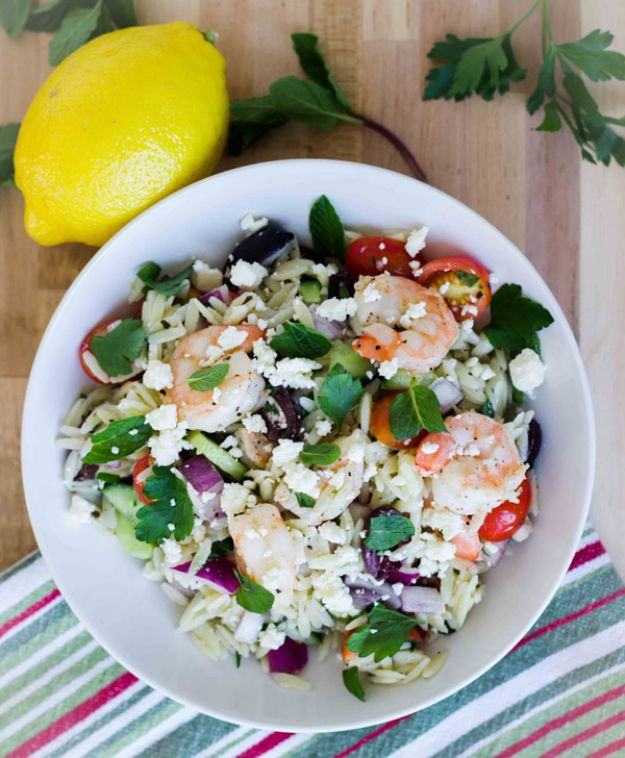 Celebrity Inspired Recipes - Greek Orzo Salad with Roasted Shrimp - Healthy Dinners, Pies, Sweets and Desserts, Cooking for Families and Holidays - Crock Pot Treats