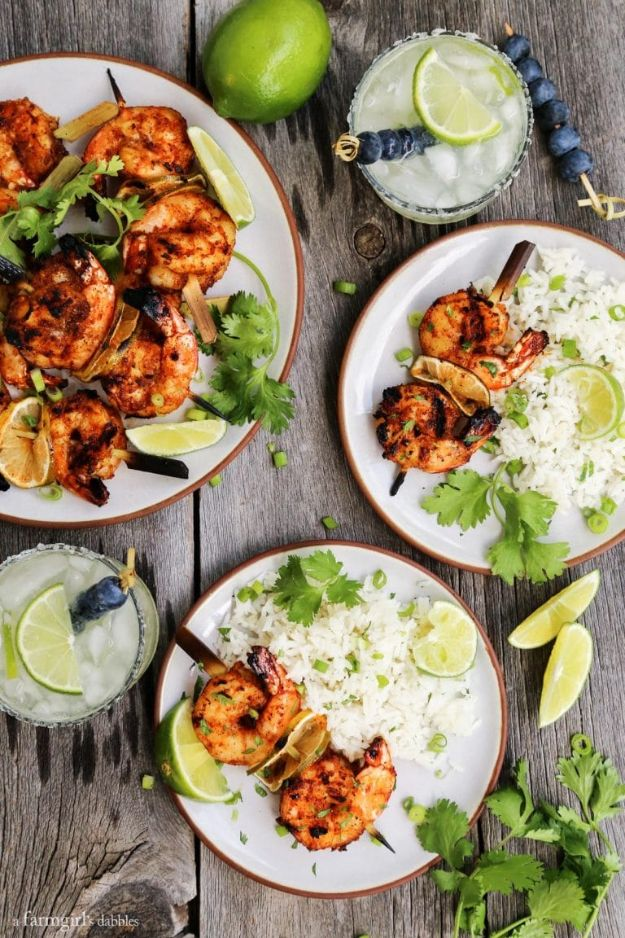 Shrimp Recipes - Grilled Margarita Shrimp Kebabs - Healthy, Easy Recipe Ideas for Dinner Using Shrimp - Grilled, Creamy Baked Pasta, Fried, Spicy Asian Style, Mexican, Sauteed Garlic