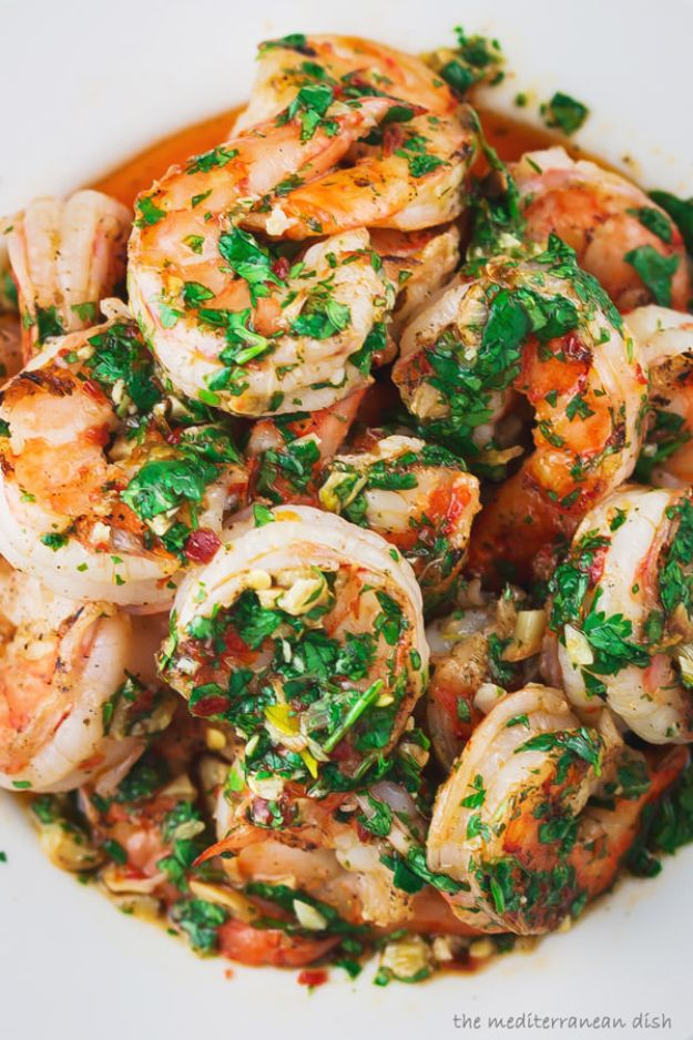 Shrimp Recipes - Grilled Shrimp With Garlic Cilantro Sauce - Healthy, Easy Recipe Ideas for Dinner Using Shrimp - Grilled, Creamy Baked Pasta, Fried, Spicy Asian Style, Mexican, Sauteed Garlic
