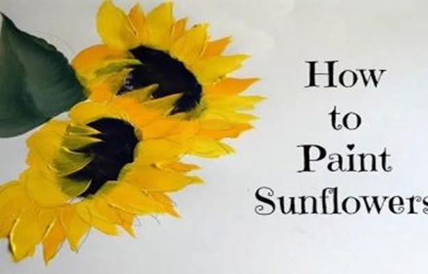 How To Paint Flowers - How To Paint A Folkart One Stroke Sunflower - Step by Step Tutorials for Painting Roses, Daisies, Whimsical and Abstract Floral Techniques - Easy Acrylic Flower Tutorial for Beginners - Paint on Wood, Canvas, On Wasll, Rocks, Fabric and Paper - Step by Step Instructions and How To #painting #diy