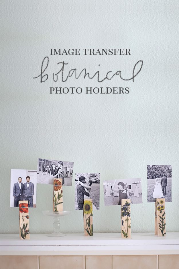 Image Transfer Botanical Photo Holders - Easy DIY Christmas Gift Ideas With Photos - Cheap Birthday Gifts to Make
