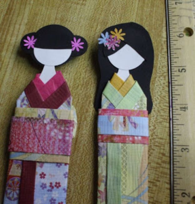 Japanese DIY Ideas and Crafts Inspired by Japan - Japanese Bookmark Doll - Boxes, Home Decorations, Room Decor, Fashion, Jewelry Tutorials, Wall Art and Gifts