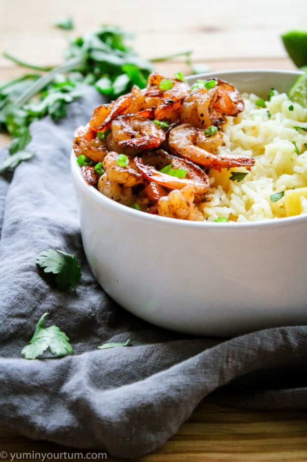 Shrimp Recipes - Jerk Shrimp With Pineapple Rice - Healthy, Easy Recipe Ideas for Dinner Using Shrimp - Grilled, Creamy Baked Pasta, Fried, Spicy Asian Style, Mexican, Sauteed Garlic