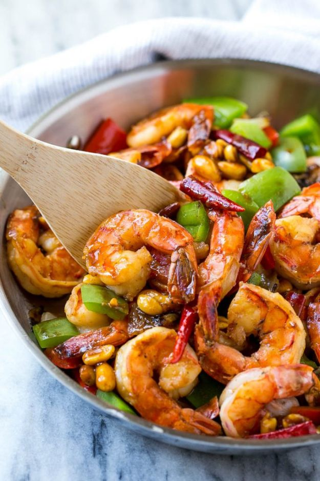 Healthy Shrimp Recipes - Kung Pao Shrimp - Healthy, Easy Recipe Ideas for Dinner Using Shrimp - Grilled, Creamy Baked Pasta, Fried, Spicy Asian Style, Mexican, Sauteed Garlic