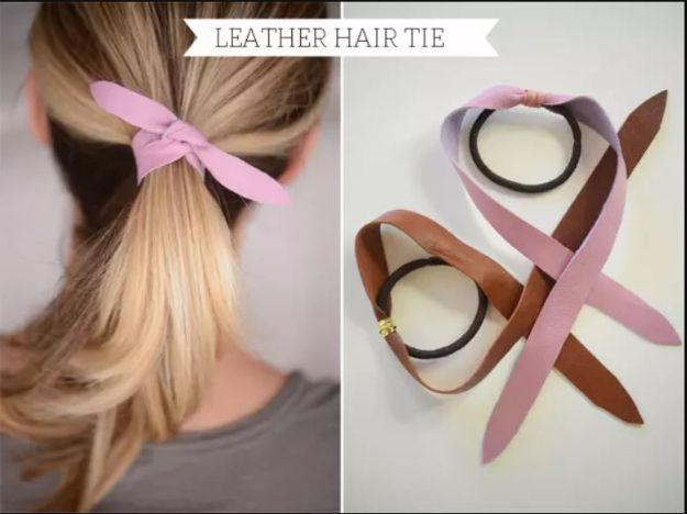 No Sew DIY Fashion Ideas - Leather Hair Tie - Easy No Sew Projects to Make for Clothes, Shirts, Jeans, Pants, Skirts, Kids Clothing No Sewing Project Ideas